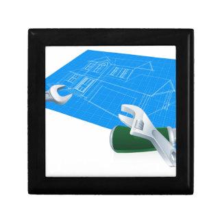 Concepto de la construcción del modelo de la casa caja de regalo