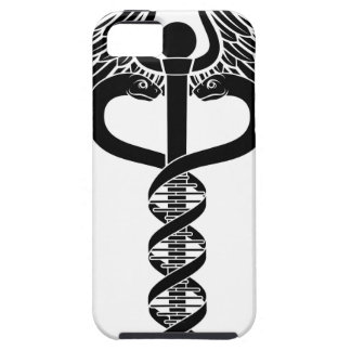 Concepto de la doble hélice de la DNA del caduceo Funda Para iPhone SE/5/5s