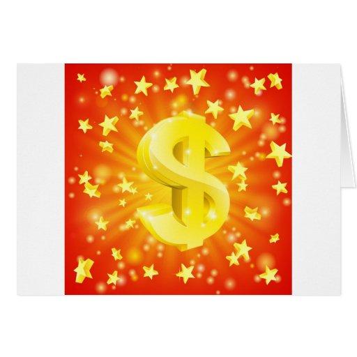 Concepto de la estrella del dinero del dólar felicitación