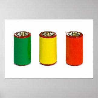 concepto de la gestión de energía - verde rojo y impresiones