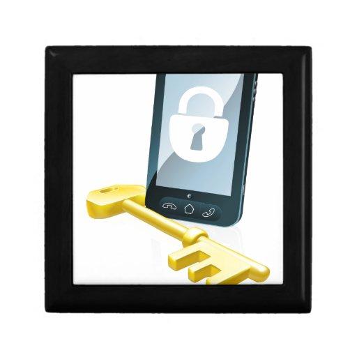 Concepto de la seguridad del teléfono móvil caja de joyas