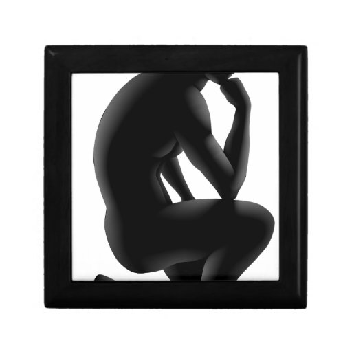 Concepto de la silueta del pensador caja de regalo