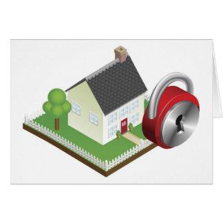 Concepto de sistema de seguridad en el hogar tarjetas