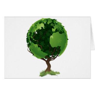 Concepto del árbol del mundo del globo felicitaciones