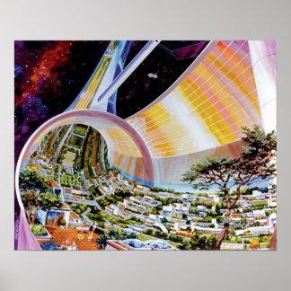 Concepto del artista del hábitat del espacio del póster