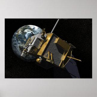 Concepto del artista del reconocimiento lunar Orbi Póster