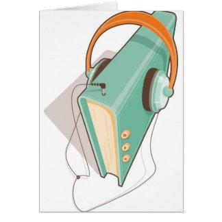 Concepto del audiolibro en estilo retro tarjeta de felicitación