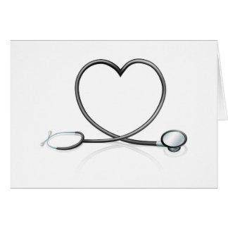 Concepto del corazón del estetoscopio tarjeta