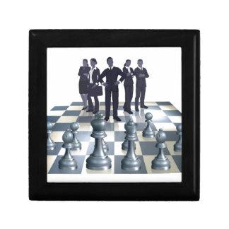 Concepto del equipo del negocio del ajedrez caja de regalo