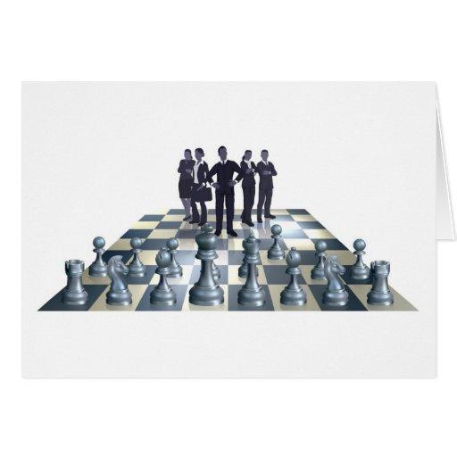 Concepto del equipo del negocio del ajedrez tarjeta