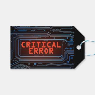 Concepto del error crítico etiquetas para regalos