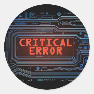 Concepto del error crítico pegatina redonda