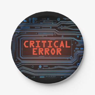 Concepto del error crítico plato de papel