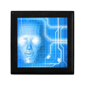 Concepto del fondo de la tecnología de la cara cajas de recuerdo