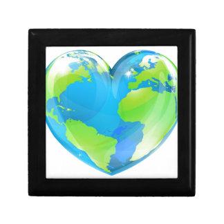 Concepto del globo del mundo del corazón cajas de regalo