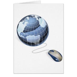 Concepto del Internet del ratón y del globo Felicitaciones