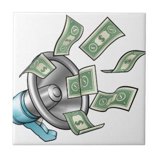 Concepto del megáfono del dinero del dibujo azulejo