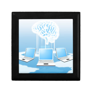 Concepto del ordenador del cerebro de la nube cajas de joyas