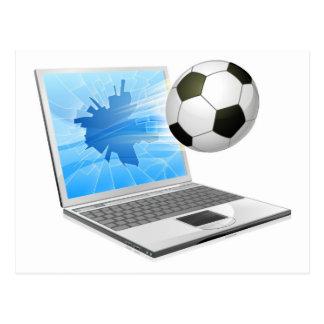 Concepto del ordenador portátil del fútbol del postal