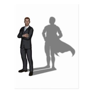 Concepto del super héroe del hombre de negocios tarjeta postal