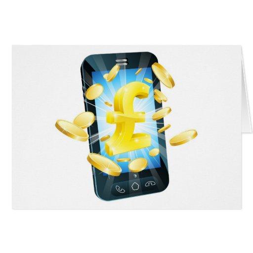 Concepto del teléfono del dinero de la libra tarjetas