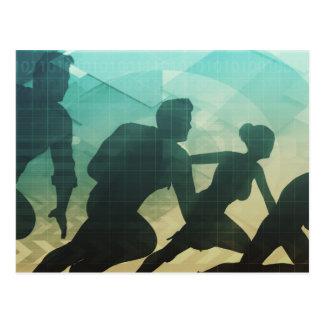 Concepto del trabajo en equipo con la silueta del postal