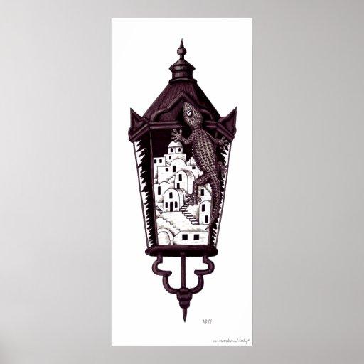 Concepto surrealista del gekko de Santorini blanco Posters