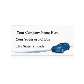 Concesionario de coches etiqueta de dirección