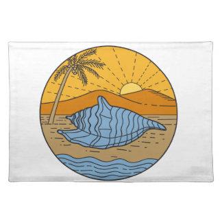 Concha Shell en el árbol de coco de Sun de la Salvamanteles