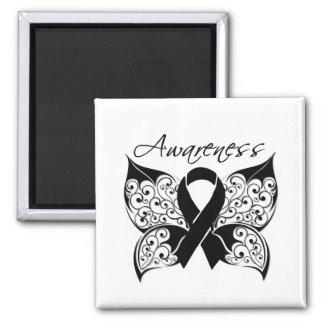 Conciencia de la mariposa del tatuaje - cáncer de  imán cuadrado