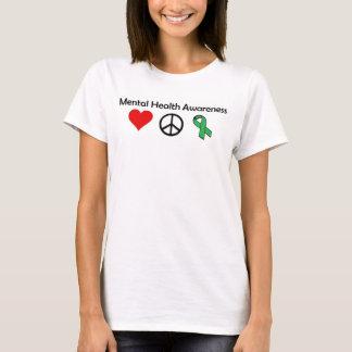 Conciencia de la salud mental - amor, paz, camiseta