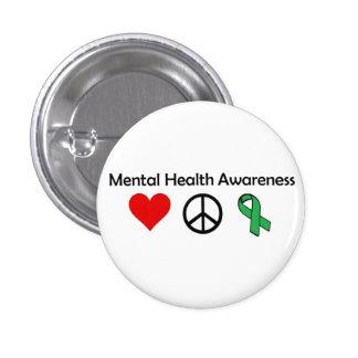 Conciencia de la salud mental - amor, paz, concien chapa redonda de 2,5 cm