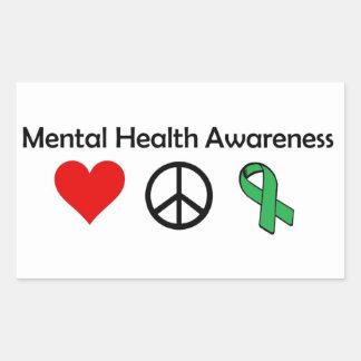 Conciencia de la salud mental - amor, paz, pegatina rectangular