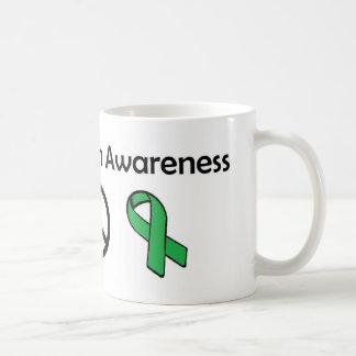 Conciencia de la salud mental - amor, paz, taza de café