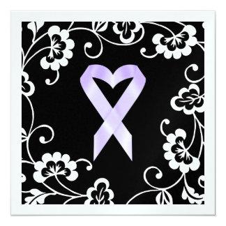 Conciencia del cáncer - cinta blanca invitación 13,3 cm x 13,3cm