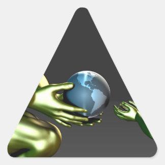 Conciencia respetuosa del medio ambiente para los pegatina triangular