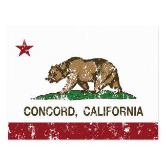 concordia de la bandera de California apenada Postal