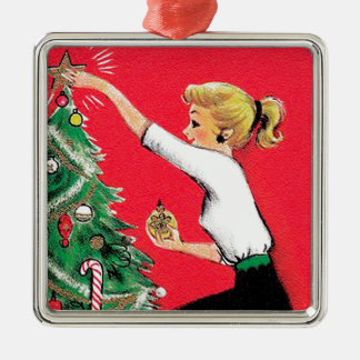 Condensador de ajuste del árbol de navidad de los adorno navideño cuadrado de metal