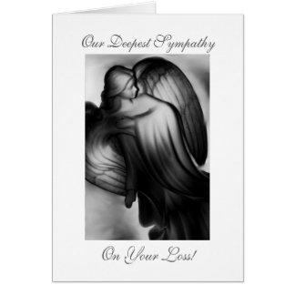Condolencia blanco y negro del ángel tarjeta