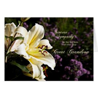 Condolencia en la muerte de un grande - nieto. tarjeta de felicitación