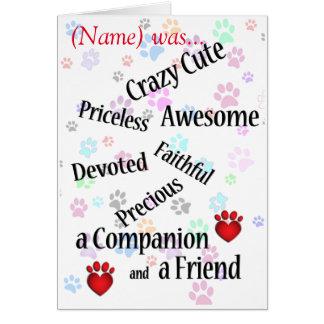 Condolencia linda loca conmemorativa del mascota tarjeta pequeña