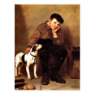 Condolencia - muchacho y su perro postal