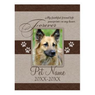 Condolencia para siempre amada del mascota postal