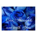 Condolencia-personalizar azul de los rosas tarjetón