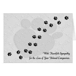 Condolencia sentida del mascota del perro o del tarjeta de felicitación