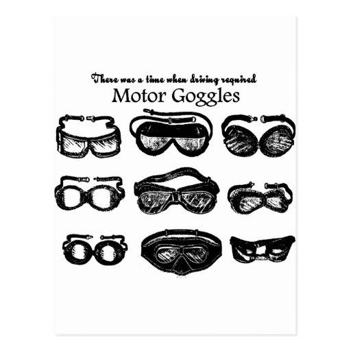 Conducción del texto de las gafas del motor tarjetas postales