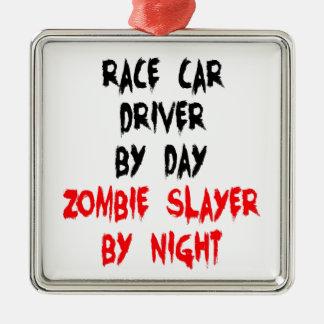 Conductor de coche de carreras del asesino del adorno navideño cuadrado de metal