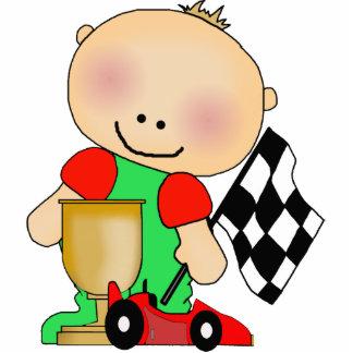 Conductor de coche de carreras del bebé de la escu escultura fotográfica