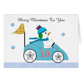 Conductor de coche de carreras del muñeco de nieve tarjeta pequeña