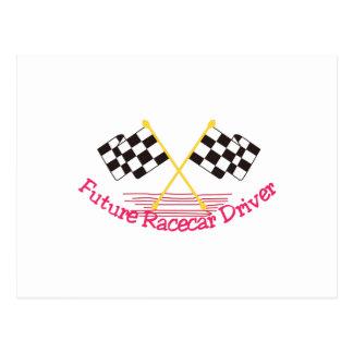 Conductor de coche de carreras futuro postal